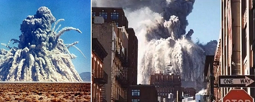 desert underground nuclear test + WTC tower collapsing - notice any similarities?