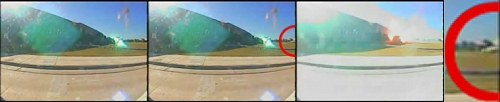 1 second time lapse images - note the nose of missile appearing on frame 2