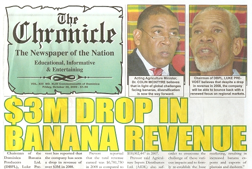 Dominica's The Chronical weekly newspaper - October 30, 2009 headline