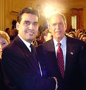 Rodriguez being thanked for his bravery by President Bush