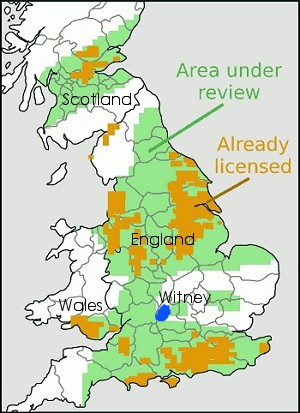 UK map showing where FRACK licences have been approved and could soon be approved