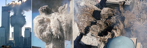 WTC towers collapse in an explosion of dust